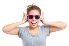 Woman with headphone and sunglasses Royalty Free Stock Photography