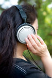 Woman and Headphone royalty free stock photo