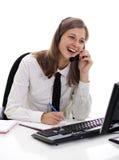 Woman in headphones Stock Images