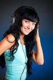Woman with headphones stock photos