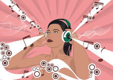 Woman with headphones. Woman listening to music with headphones on abstract background royalty free illustration