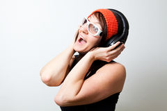 Woman with headphones Royalty Free Stock Images