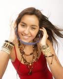 Woman headphones. Stock Photos