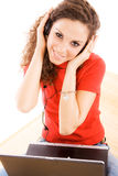 Woman in headphones Stock Images
