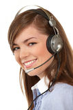 Woman in headphones Royalty Free Stock Photos