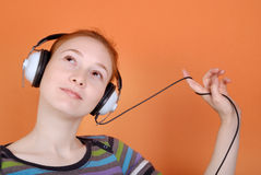 Woman in headphones stock image