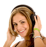 Woman with headphones Royalty Free Stock Image