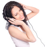 Woman with headphones Stock Photography