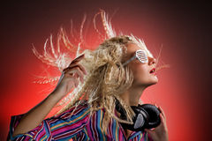 Woman with headphones dancing Royalty Free Stock Images