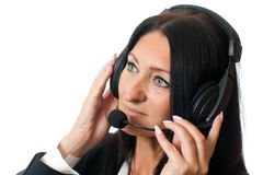 Woman in headphones Royalty Free Stock Images