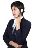 Woman with headphones. Image of business asian woman with headphones on white background Stock Photos
