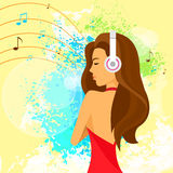 Woman headphones listen to music, red dress over. Paint splash background vector illustration Royalty Free Stock Photos