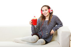 Woman with headphones listening music Stock Photos