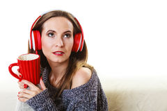 Woman with headphones listening music Royalty Free Stock Images