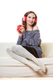 Woman with headphones listening music Royalty Free Stock Photography