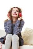 Woman with headphones listening music Stock Photos