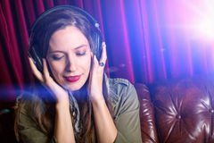 Woman headphones Royalty Free Stock Photography