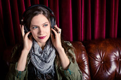 Woman headphones Royalty Free Stock Photo