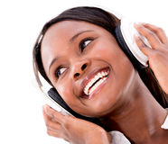 Woman with headphones Stock Photos