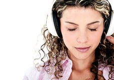 Woman with headphones Royalty Free Stock Photos