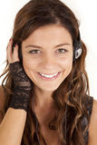 Woman headphones look Royalty Free Stock Photos