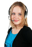 Woman with headphones and microphone Stock Images