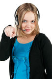 Woman with headphones and microphone Royalty Free Stock Photography