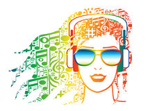 Woman with headphones with musical notes for hair. Illustration of woman with musical notes for hair wearing headphones Stock Photos