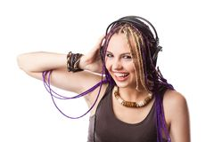 Woman in the headphones Stock Photography