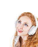 Woman in headphones Stock Image