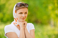 Woman in headscarf with sunshades Royalty Free Stock Image
