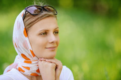 Woman in headscarf with sunshades Stock Photos