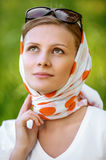 Woman in headscarf with sunshades Royalty Free Stock Photo