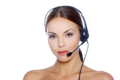 Woman in Headset Royalty Free Stock Photos