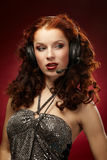 Woman with a headset Stock Photos