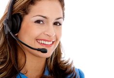 Woman with a headset Royalty Free Stock Images