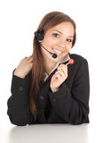 Woman in headset Stock Photo