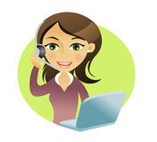 Woman with headset. And computer royalty free illustration