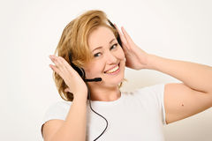 Woman with a Headset Stock Photography