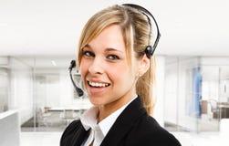 Woman headset Royalty Free Stock Image