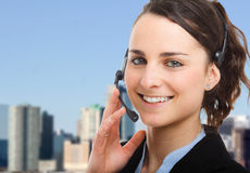 Woman headset Royalty Free Stock Images