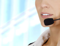 Woman with headset. Stock Photos