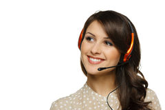 Woman in headset Royalty Free Stock Image