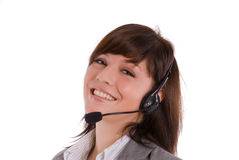 Woman with headset. Give a support Stock Image
