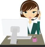 Woman with headset. At workspace royalty free illustration