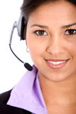 Woman with a headset Stock Photo