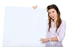 Woman with a headset and a banner Royalty Free Stock Photo