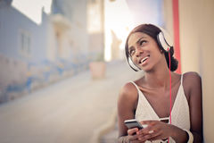 Woman in headset Royalty Free Stock Photo