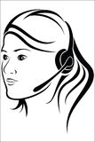 Woman with headset in callcenter. Vector illustration : Woman with headset in callcenter on a white background Stock Image