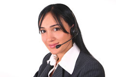 Woman headset and chair. Call center operator with headset Stock Photos